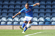 Reece Brown shoots during the EFL Sky Bet League 1 match between Rochdale and Scunthorpe United at Spotland, Rochdale, England on 12 August 2017. Photo by Daniel Youngs.