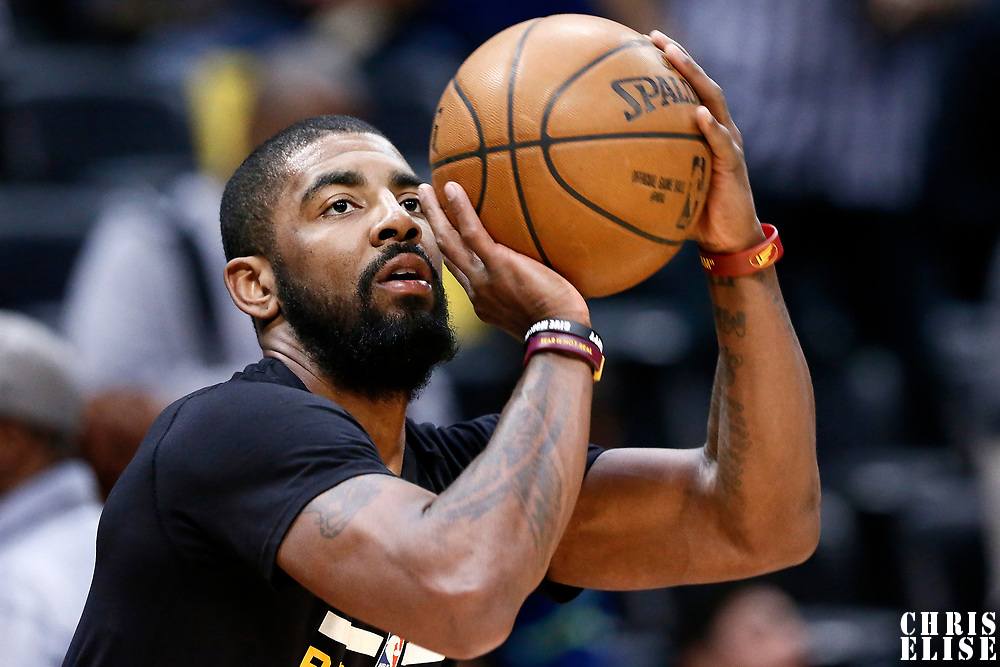 22 March 2017: Cleveland Cavaliers guard Kyrie Irving (2) warms up prior to the Denver Nuggets 126-113 victory over the Cleveland Cavaliers, at the Pepsi Center, Denver, Colorado, USA.
