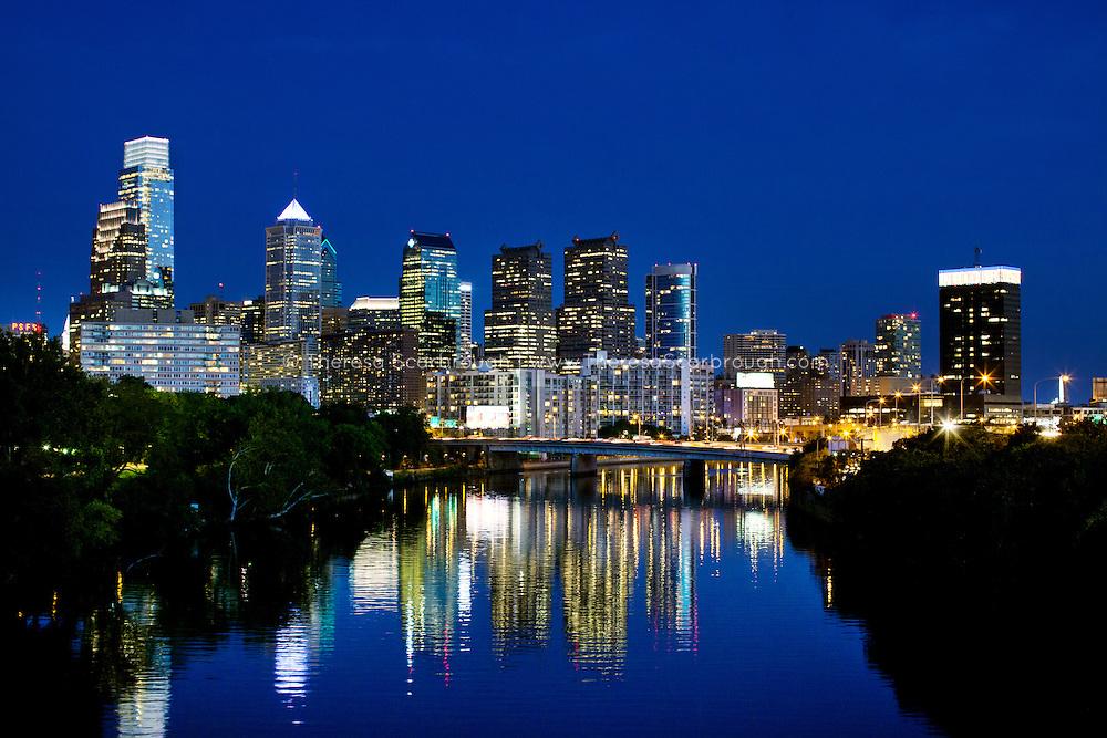 Philadelphia, Pennsylvania skyline at twilight blue magical  hour