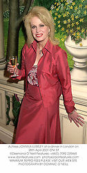 Actress JOANNA LUMLEY at a dinner in London on 28th April 2001.ONI 37