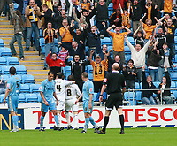 Photo: Mark Stephenson.<br /> Coventry City v Hull City. Coca Cola Championship. 18/08/2007.Hull's Nick Barmby (NO8) celebrayes his goal with tean mate Ian Ashbee