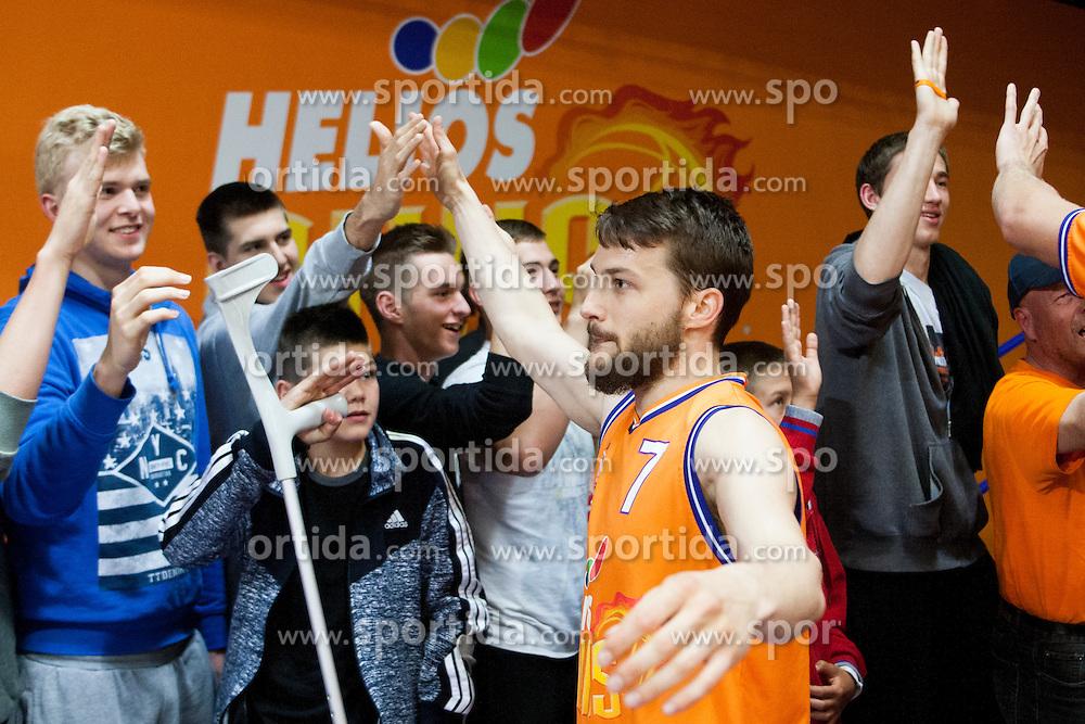 Players of KK Helios Suns after basketball match between KK Helios Suns and KK Krka in semi-final of Nova KBM Champions League 2015/16, on May 23, 2016 in Hala Kominalnega Centra, Domzale, Slovenia. Photo by Urban Urbanc / Sportida