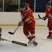 Li Ning, China scores past Bulgarian goal tender Mihov Patar in China's 6-2 win during the Bulgaria V China match at the 2012 IIHF Ice Hockey World Championships Division 3 held at Dunedin Ice Stadium. Dunedin, Otago, New Zealand. 17th January 2012. Photo Tim Clayton