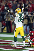 Green Bay Packers wide receiver James Jones (89) raises his arms and celebrates after Green Bay Packers wide receiver Jeff Janis (83) catches a 41 yard Hail Mary pass for a touchdown that ties the score at 20-20 with no time left on the game clock, sending the game into overtime during the NFL NFC Divisional round playoff football game against the Arizona Cardinals on Saturday, Jan. 16, 2016 in Glendale, Ariz. The Cardinals won the game in overtime 26-20. (©Paul Anthony Spinelli)