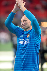 October 21, 2018 - Atlanta, GA, U.S. - ATLANTA, GA - OCTOBER 21: Atlanta United goalkeeper Brad Guzan (1) thanking the fans after the MLS game between the Atlanta United and the Chicago Fire on October 21, 2018 at the Mercedes-Benz Stadium in Atlanta, GA. Atlanta United FC secured a place in next year's CONCACAF Champions League with a 2-1 victory against the visiting Chicago Fire. (Photo by John Adams/Icon Sportswire) (Credit Image: © John Adams/Icon SMI via ZUMA Press)