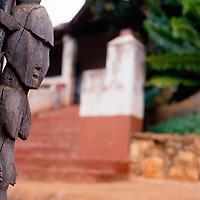 Traditional carved figure on stockade next to Modjadji's palace, 1989. Greg Mariovich.