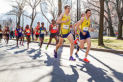 Boston Marathon: BAA 5K road race, BAA club runners lead elite women's field in first mile on Commonwealth Avenue