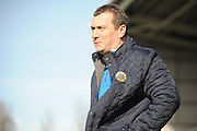 Mickey Mellon, manager of Shrewsbury Town during the Sky Bet League 1 match between Shrewsbury Town and Port Vale at Greenhous Meadow, Shrewsbury, England on 25 March 2016. Photo by Mike Sheridan.