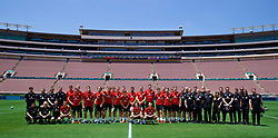 LOS ANGELES, USA - Sunday, May 27, 2018: Wales players and staff players line-up for a team group photograph after training session at the Rose Bowl ahead of the International friendly match against Mexico. Doctor Rhodri Martin, equipment manager David Griffiths, assistant coach Osian Roberts, physiotherapist Sean Connelly, assistant coach Albert Stuivenberg, masseur Chris Senior, manager Ryan Giggs, George Thomas, Chris Mepham, Connor Roberts, goalkeeper Adam Davies, goalkeeper Chris Maxwell, Ashley 'Jazz' Richards, Aaron Ramsey, Chris Gunter, Ben Davies, Andy King, Tom Lockyer, Tom Lawrence, Joe Ledley, Harry Wilson, Sam Vokes, goalkeeper Wayne Hennessey, Matthew Smith, David Brooks, Ryan Hedges, Tom Bradshaw, Declan John, Lee Evans, head of performance Tony Strudwick, head of public affairs Ian Gwyn Hughes, Medical Officer Doctor Jon Houghton, James Turner, physiotherapist Paul Harris, head of international affairs Mark Evans, Kevin McCusker, team operations manager Amanda Smith, physiotherapist Declan Lynch, goalkeeping coach Tony Roberts, Steffan Poppam, Rob Dowling, media officer Sara Pennant, Nathan Williams. (Pic by David Rawcliffe/Propaganda)