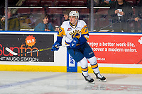 KELOWNA, BC - DECEMBER 01: Kirby Dach #77 of the Saskatoon Blades warms up against the Kelowna Rockets  at Prospera Place on December 1, 2018 in Kelowna, Canada. (Photo by Marissa Baecker/Getty Images)