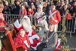 November 18, 2018 - Stirling, Stirlingshire, United Kingdom - Stirling's Provost, Councillor Christine Simpson is seen with Santa, Alfie Bell and two mascots from Toy Town posing for media prior to the parade...Stirling came out to begin the festive period with their annual Christmas Light Turn On event, this is a yearly event that takes place on the 18th of November. Stirling Council run a competition to see who will be lucky and sit next to Santa for the parade and to have the honor of doing the switch on. This year saw Alfie Bell and his mother Stephanie Bell having the honor. (Credit Image: © SOPA Images via ZUMA Wire)
