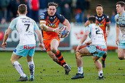 Castleford Tigers prop Grant Millington (10) on a run during the Betfred Super League match between Castleford Tigers and Widnes Vikings at the Jungle, Castleford, United Kingdom on 11 February 2018. Picture by Simon Davies.