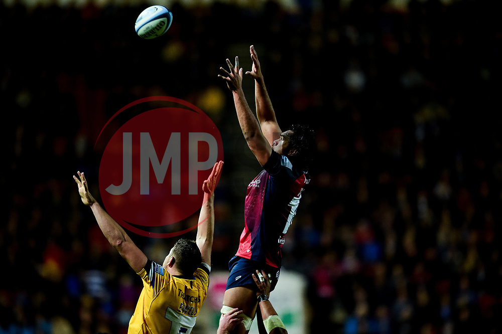 Steven Luatua of Bristol Bears wins the line out  - Mandatory by-line: Ryan Hiscott/JMP - 18/10/2019 - RUGBY - Ashton Gate - Bristol, England - Bristol Bears v Bath Rugby - Gallagher Premiership Rugby