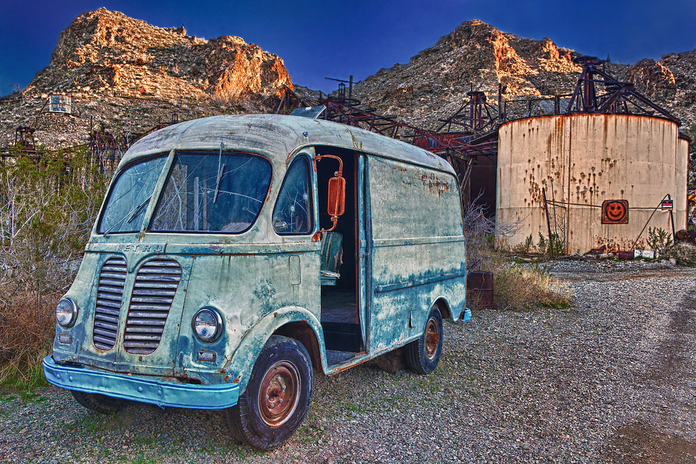 Vintage Metro Van At Sunset - Eldorado Canyon Techatticup Mine - Nelson NV - HDR