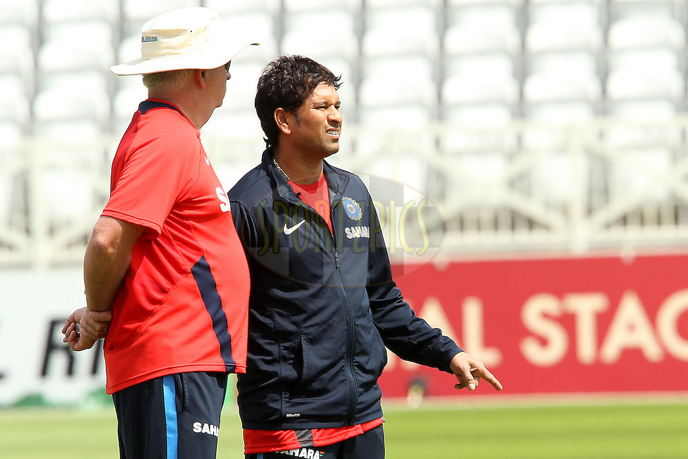 Duncan Fletcher chats with Sachin Tendulkar during the India practice session and press conference held at Trent Bridge Cricket Ground in Nottingham on the 28th July 2011...Photo by Ron Gaunt/SPORTZPICS/BCCI
