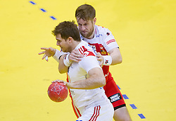 William Accambray of France vs Vignir Svavarsson of Iceland  during handball match between France and Iceland in  Main Round of 10th EHF European Handball Championship Serbia 2012, on January 25, 2012 in Spens Hall, Novi Sad, Serbia. (Photo By Vid Ponikvar / Sportida.com)
