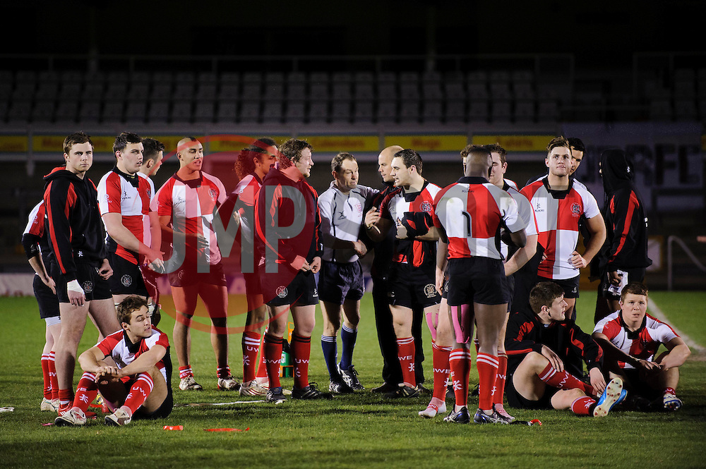 The losing UWE side look dejected on the pitch after the match finishes Bristol 28-12 UWE - Photo mandatory by-line: Rogan Thomson/JMP - Tel: Mobile: 07966 386802 - 29/04/2013 - SPORT - RUGBY - Memorial Stadium - Bristol. University of Bristol v University of the West of England - 2013 edition of the annual Rugby Union University Varsity match in Bristol.