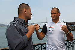 SAN FRANCISCO, CA - JULY 29: Cain Velasquez (L) and Junior dos Santos (R) square off during a UFC press tour event on July 29, 2013 in San Francisco, California.  (Photo by Jason O. Watson/Zuffa LLC/Zuffa LLC via Getty Images) *** Local Caption *** Cain Velasquez; Junior dos Santos