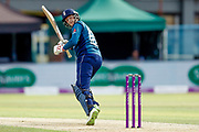 England ODI batsman Joe Root gets a boundary down at fine leg during the 3rd Royal London ODI match between England and India at Headingley Stadium, Headingley, United Kingdom on 17 July 2018. Picture by Simon Davies.