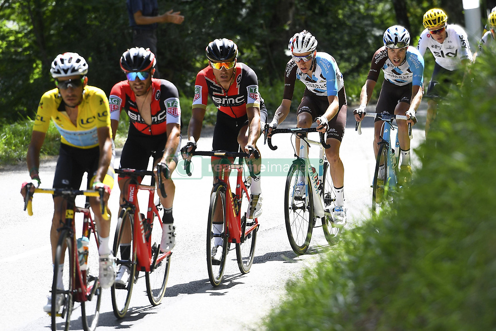 July 14, 2017 - Foix, France - FOIX, FRANCE - JULY 14 : ARU Fabio (ITA) Rider of Astana Pro Team, VAN AVERMAET Greg (BEL) Rider of BMC Racing Team, BARDET Romain (FRA) Rider of Team AG2R La Mondiale, FROOME Christopher (GBR) Rider of Team SKY during stage 13 of the 104th edition of the 2017 Tour de France cycling race, a stage of 101 kms between Saint-Girons and Foix on July 14, 2017 in Foix, France, 14/07/2017 (Credit Image: © Panoramic via ZUMA Press)