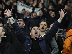 A Cardiff Fan celebrates on the final whistle - Photo mandatory by-line: Joe Meredith/JMP - Tel: Mobile: 07966 386802 03/11/2013 - SPORT - FOOTBALL - The Cardiff City Stadium - Cardiff - Cardiff City v Swansea City - Barclays Premier League