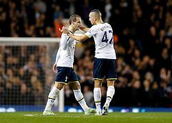 Roberto Soldado of Tottenham Hotspur celebrates with Nabil Bentaleb after scoring to make it 2-1 - Photo mandatory by-line: Rogan Thomson/JMP - 07966 386802 - 30/11/2014 - SPORT - FOOTBALL - London, England - White Hart Lane - Tottenham Hotspur v Everton - Barclays Premier League.