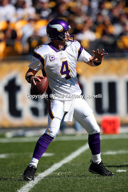 Minnesota Vikings quarterback Brett Favre (4) throws a pass during the NFL football game against the Pittsburgh Steelers, October 25, 2009 in Pittsburgh, Pennsylvania. The Steelers won the game 27-17. (©Paul Anthony Spinelli)