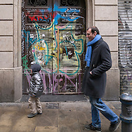 In this Graffiti 4D series, passersby are caught in moments in time to layer the forth dimention (time) over the multiple layers of graffiti/art in public places in Barcelona, Spain. Graffiti is a continuous conversation with present and future artists who care to participate. I participated in the conversation by including and capturing people who shared the same moment in time with me. It's amazing how many of the people 'matched' and seemed to fit the graffiti serendipitously.