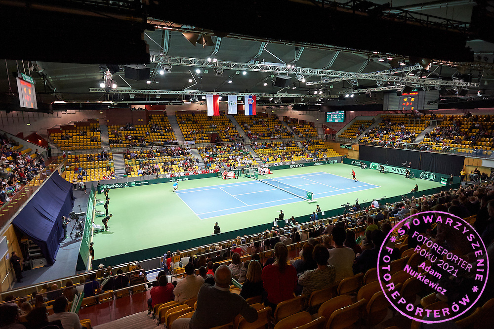 General view during Davis Cup Tie World Group Play-off Poland v Slovakia at Gdynia Arena Hall in Gdynia, Poland.<br /> <br /> Poland, Gdynia, September 20, 2015<br /> <br /> Picture also available in RAW (NEF) or TIFF format on special request.<br /> <br /> For editorial use only. Any commercial or promotional use requires permission.<br /> <br /> Adam Nurkiewicz declares that he has no rights to the image of people at the photographs of his authorship.<br /> <br /> Mandatory credit:<br /> Photo by &copy; Adam Nurkiewicz / Mediasport