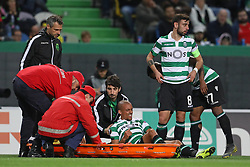February 14, 2019 - Lisbon, Portugal - Bruno Gaspar of Sporting CP is injured during the Europa League 2018/2019 footballl match between Sporting CP vs Villarreal FC. (Credit Image: © David Martins/SOPA Images via ZUMA Wire)