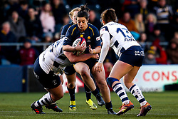 Sioned Harries of Worcester Warriors Women is tackled - Mandatory by-line: Robbie Stephenson/JMP - 01/12/2019 - RUGBY - Sixways Stadium - Worcester, England - Worcester Warriors Women v Bristol Bears Women - Tyrrells Premier 15s