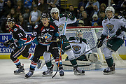 KELOWNA, CANADA - OCTOBER 19:  Conner Bruggen-Cate #20 of the Kelowna Rockets watches for the puck at the Kelowna Rockets game on October 19, 2016 at Prospera Place in Kelowna, British Columbia, Canada.  (Photo By Cindy Rogers/Nyasa Photography,  *** Local Caption ***  Devante Stephens #21 of the Kelowna Rockets, Mario Petit #31 of the Everett Silvertips