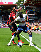 Callum Wilson (13) of AFC Bournemouth battles for possession with Davinson Sanchez (6) of Tottenham Hotspur during the Premier League match between Bournemouth and Tottenham Hotspur at the Vitality Stadium, Bournemouth, England on 4 May 2019.