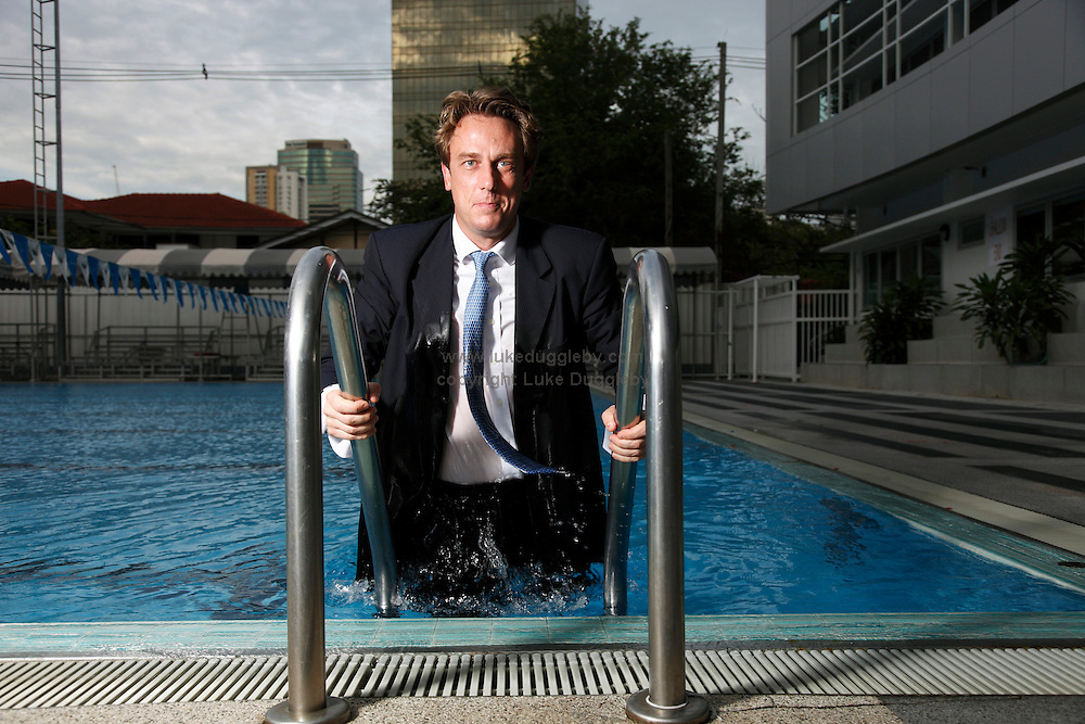 20 year Bangkok resident, investment banker Stephane de Baets, the Managing Director and Founder of Opt Asia Capital. Originally from Belgium he is a member of the Thailand triathlon and cycling team participating in Ironman triathlon events. This is the pool where he trains for such events.