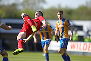Donal McDermott attempts an overhead kick during the EFL Sky Bet League 1 match between Shrewsbury Town and Rochdale at Greenhous Meadow, Shrewsbury, England on 8 April 2017. Photo by Daniel Youngs.