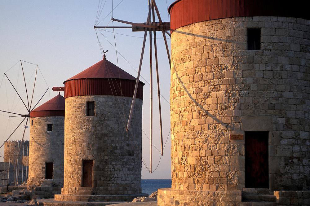 Windmills on Rhodes, Greece