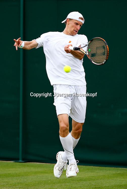 Wimbledon Championships 2013, AELTC,London,<br /> ITF Grand Slam Tennis Tournament, Bastian Knittel(GER),Aktion,Einzelbild,<br /> Ganzkoerper,Hochformat,