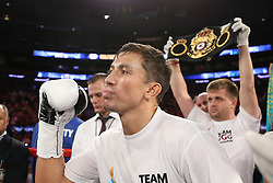 NEW YORK, NY - JULY 26: Gennady Golovkin before his WBA/IBO Middleweight World Championship bout at Madison Square Garden on July 26, 2014 in New York, New York. (Photo by Ed Mulholland/K2 Promotions)