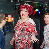 Female impersonator Wayne Chamberlain, the reigning Miss Gay Portland XLI, dances with fans at CC Slaughter's nightclub in Portland. 12:15am