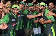 Pakistan players celebrate with the fans after defeating NZ.<br /> Pakistan tour of New Zealand. T20 Series. 3rd Twenty20 international cricket match, Bay Oval, Mt Maunganui, New Zealand. Sunday 28 January 2018. © Copyright Photo: Andrew Cornaga / www.Photosport.nz
