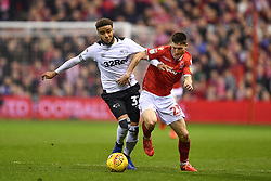 February 25, 2019 - Nottingham, England, United Kingdom - Derby County defender Jayden Bogle (37) grapples with Joe Lolley (23) of Nottingham Forest during the Sky Bet Championship match between Nottingham Forest and Derby County at the City Ground, Nottingham on Monday 25th February 2019. (Credit Image: © Mi News/NurPhoto via ZUMA Press)
