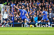 Branislav Ivanovic of Chelsea shoots during the Barclays Premier League match at Stamford Bridge, London<br /> Picture by David Horn/Focus Images Ltd +44 7545 970036<br /> 22/02/2014