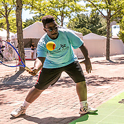 August 22, 2016, New Haven, Connecticut: <br /> A fan plays mini tennis during Day 4 of the 2016 Connecticut Open at the Yale University Tennis Center on Monday August  22, 2016 in New Haven, Connecticut. <br /> (Photo by Billie Weiss/Connecticut Open)