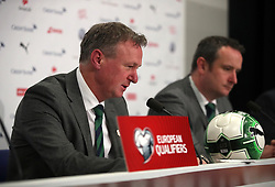 Northern Ireland manager Michael O'Neill talks to the media after the FIFA World Cup Qualifying second leg match at St Jakob Park, Basel.