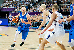 Martin Hermannsson of Iceland vs Tuukka Kotti of Finland during basketball match between National Teams of Finland and Iceland at Day 7 of the FIBA EuroBasket 2017 at Hartwall Arena in Helsinki, Finland on September 6, 2017. Photo by Vid Ponikvar / Sportida