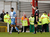 Photo: Leigh Quinnell.<br /> Nottingham Forest v Swindon Town. Coca Cola League 1. 25/02/2006. Swindons Jerel Ifil is sent off for a second yellow card by referee C. Oliver.