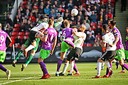Bristol City goalkeeper Max O'Leary (24) punches a late cross clear during the EFL Sky Bet Championship match between Sheffield United and Bristol City at Bramall Lane, Sheffield, England on 30 March 2019.