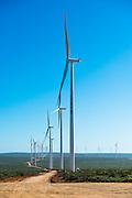Line of wind turbines in Sere Wind Farm