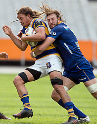 Bay of Plenty's Jess Parete, left, is tackled by Otago's Josh Furno in the Mitre 10 Cup rugby match, Forsyth Barr Stadium, Dunedin, New Zealand, Oct. 7 2017.  Credit:SNPA / Adam Binns ** NO ARCHIVING**