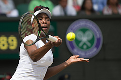 LONDON, ENGLAND - Thursday, July 7, 2016:  Venus Williams (USA) during the Ladies' Singles - Semi-finals match on day eleven of the Wimbledon Lawn Tennis Championships at the All England Lawn Tennis and Croquet Club. (Pic by Kirsten Holst/Propaganda)
